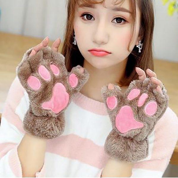 Plush Cat Paw Fingerless Mittens 5