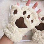 Plush Cat Paw Fingerless Mittens 4