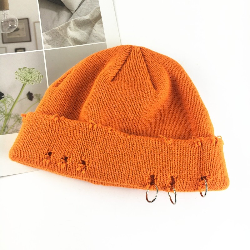 Harajuku Grunge Winter Knitted Hat with Holes, rings and pins 45
