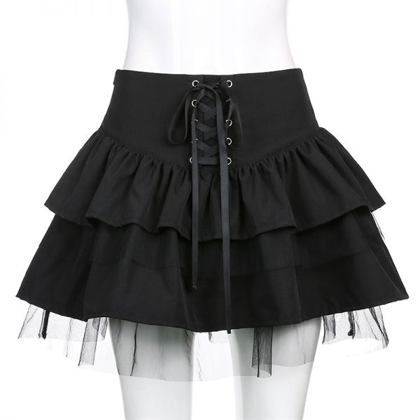 Egirl Gothic Lace Up Mini Skirt 4