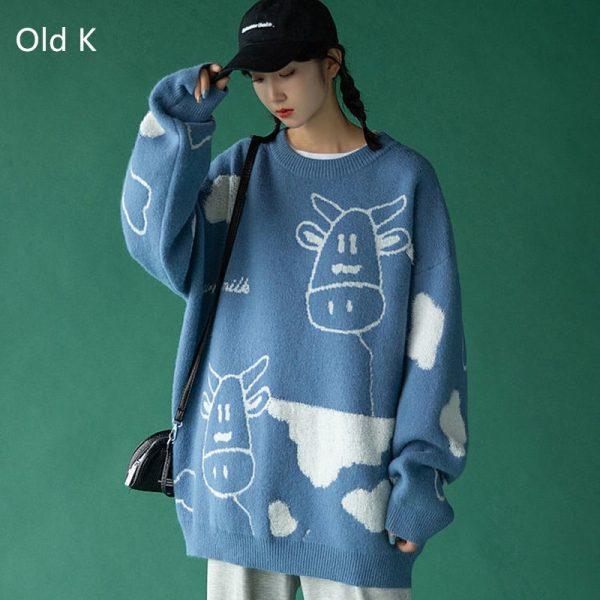 Egirl Harajuku pullover with a cow print 3