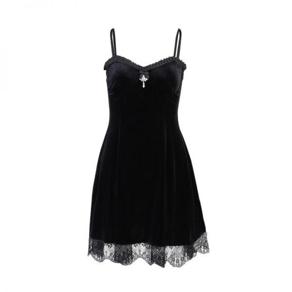 Gothic Vintage Velvet Dress with Cross 6