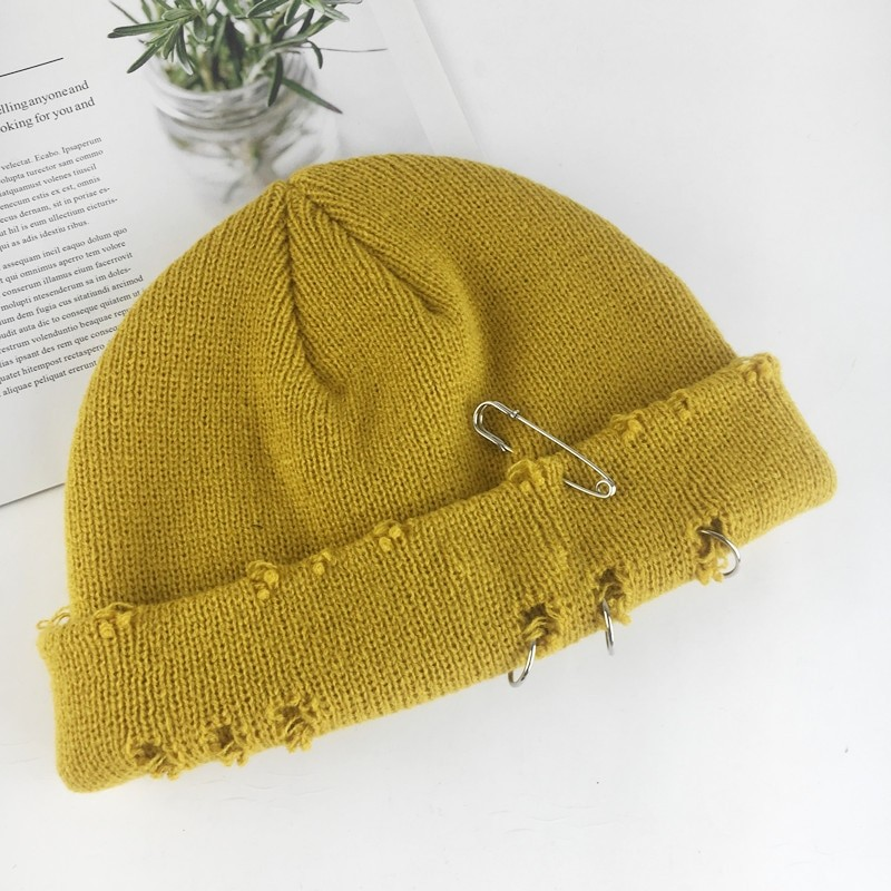 Harajuku Grunge Winter Knitted Hat with Holes, rings and pins 63