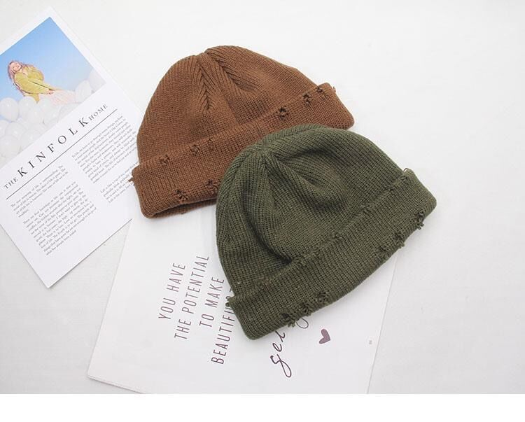 Harajuku Grunge Winter Knitted Hat with Holes, rings and pins 53