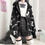 Harajuku Egirl Gothic Hoodies with bear print 3