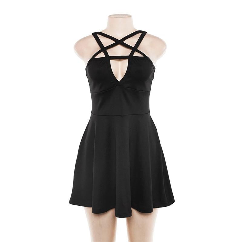 Egirl Gothic Pentagram Strap Dress 41