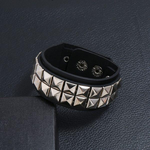 Egirl Eboy Punk Leather Wristband with Metal Rivets 3