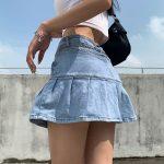 Y2K Denim Mini Pleated Skirt  3
