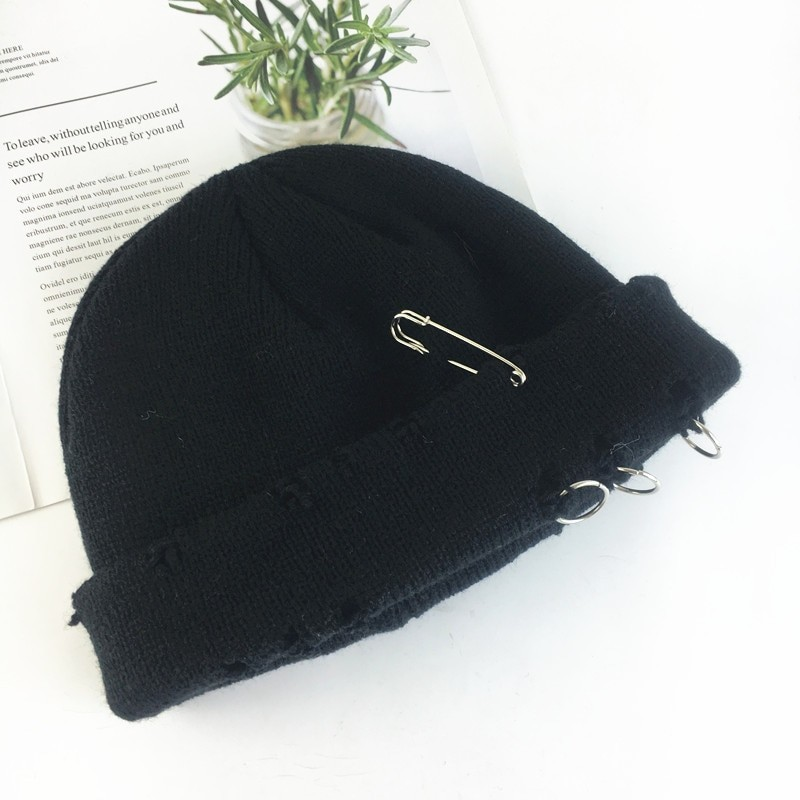 Harajuku Grunge Winter Knitted Hat with Holes, rings and pins 66