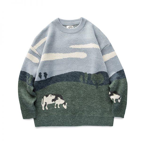 Eboy Egirl Y2K Vintage Cows print Sweaters 3