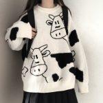 Egirl Harajuku pullover with a cow print 1
