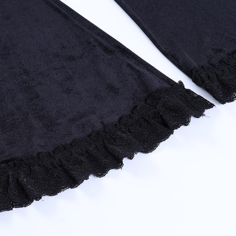 Egirl Gothic Aesthetic Flared Velvet Pants with Lace 52