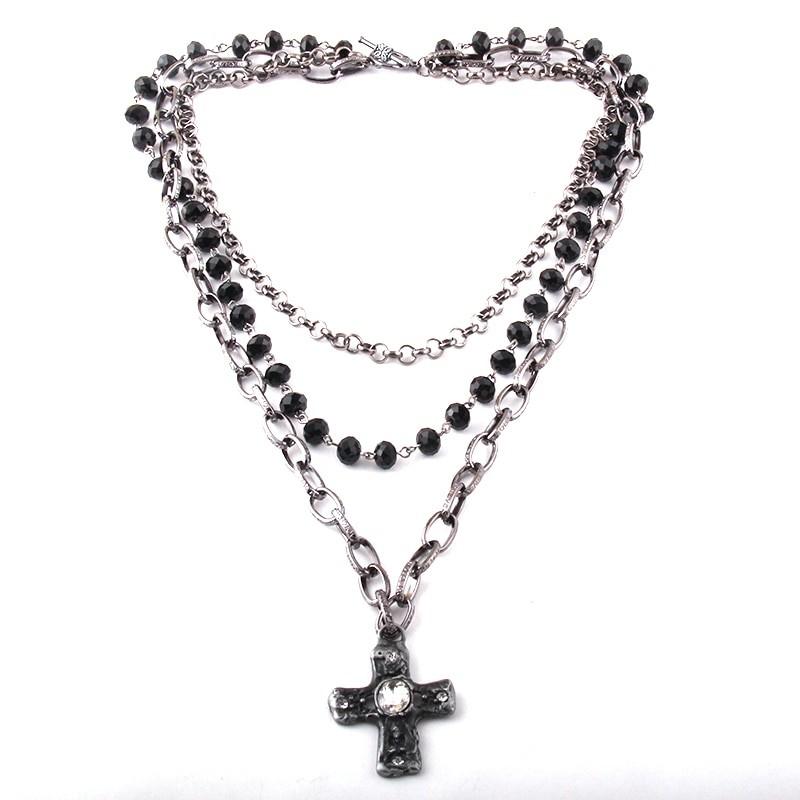 Egirl Eboy Gothic Necklaces Multiple Rosary & Chain Cross Pendant 43
