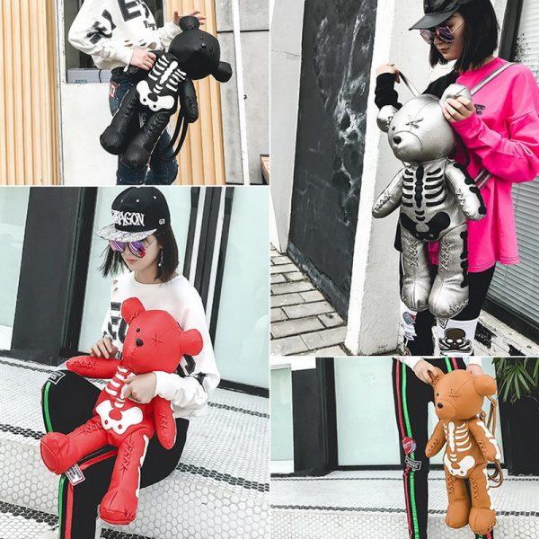 Egirl Eboy Gothic Skeleton Bear Backpack  5