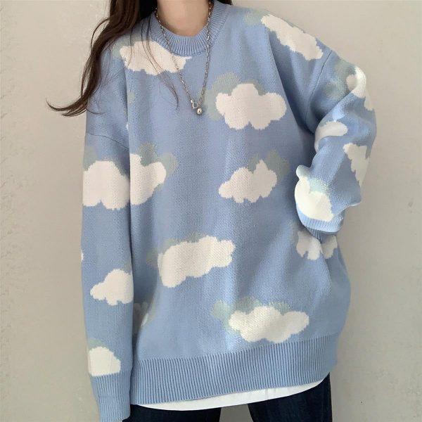 Harajuku Kawaii Pullovers with cloud print long or short sleeves 1