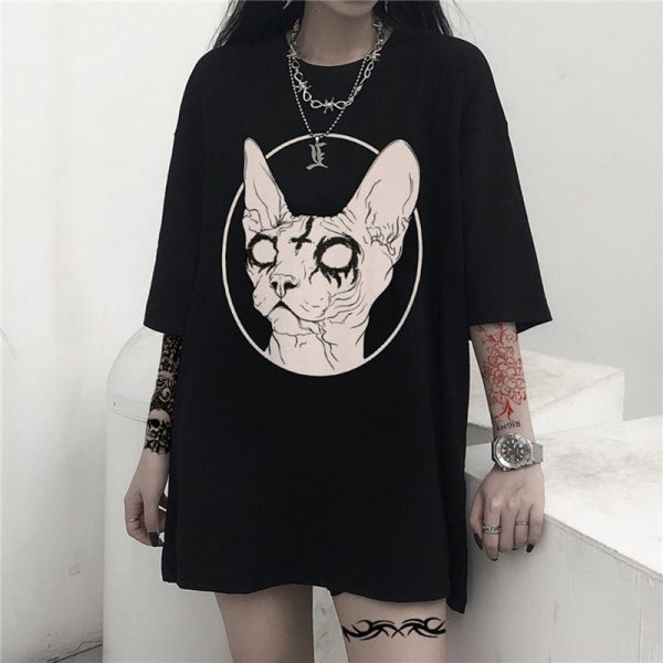 Gothic Sphynx Cat T-Shirt 1