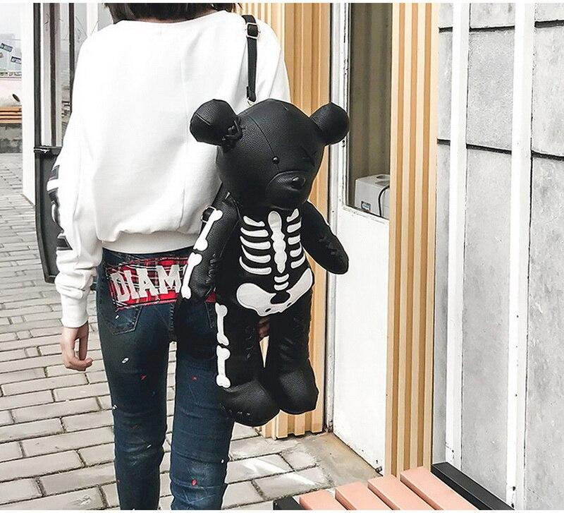 Egirl Eboy Gothic Skeleton Bear Backpack 41