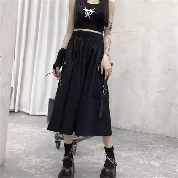 Harajuku Punk High Waist Loose A-line Cargo Skirts with chain 15