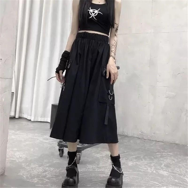 Harajuku Punk High Waist Loose A-line Cargo Skirts with chain 62