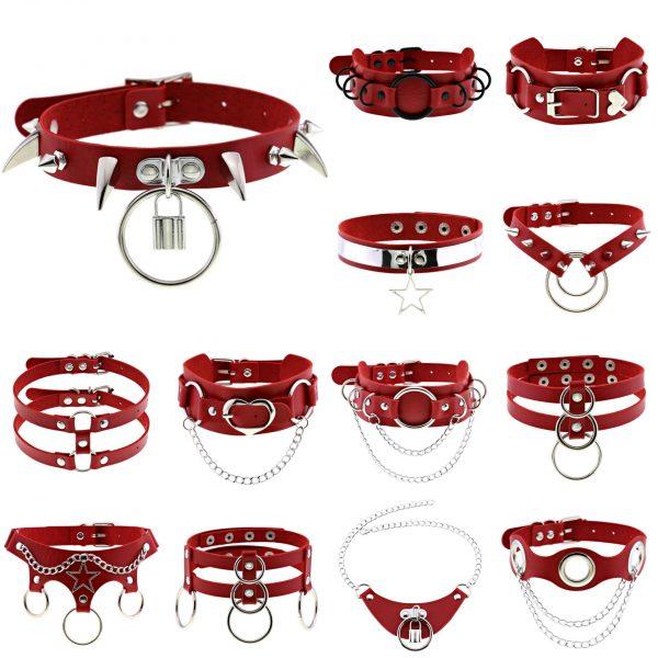 Egirl Eboy Gothic Punk Chokers (red) 1