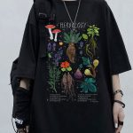 Gothic Harajuku T-shirt with vintage herbology print 1