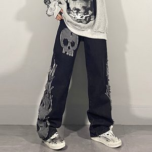 Egirl Harajuku Goth Jeans with skull and flame decor 3
