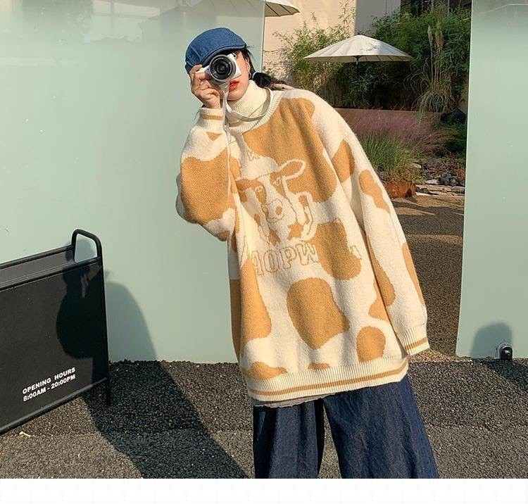 Egirl Harajuku pullover with a cow print 55