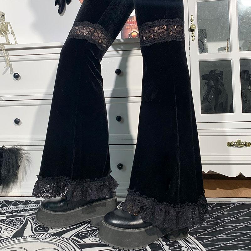 Egirl Gothic Aesthetic Flared Velvet Pants with Lace 46