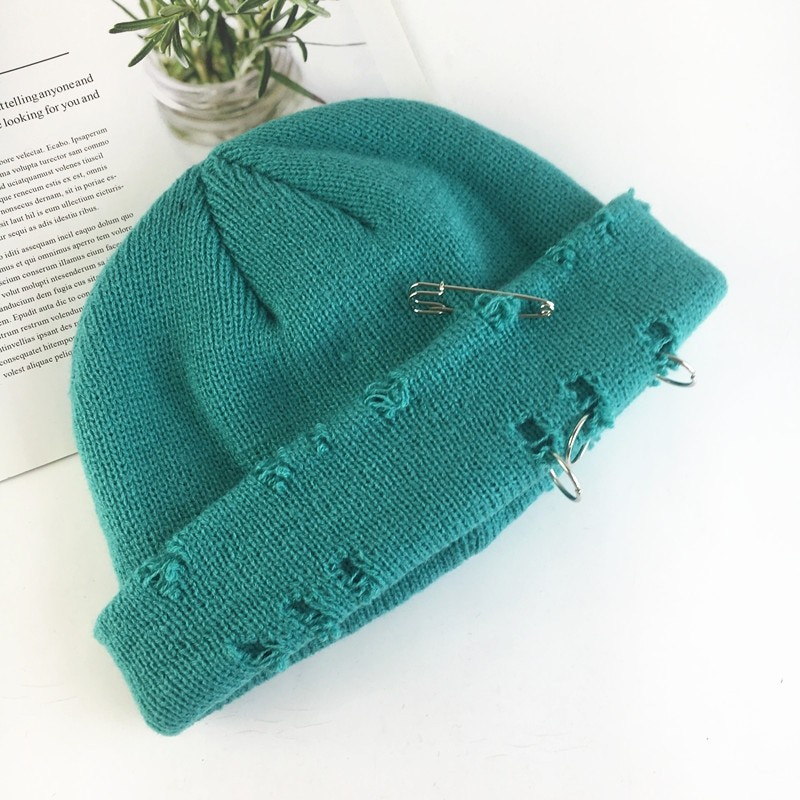 Harajuku Grunge Winter Knitted Hat with Holes, rings and pins 68