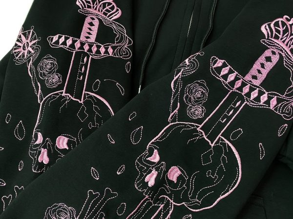 Hoodie with Gothic gothic embroidered skull 10