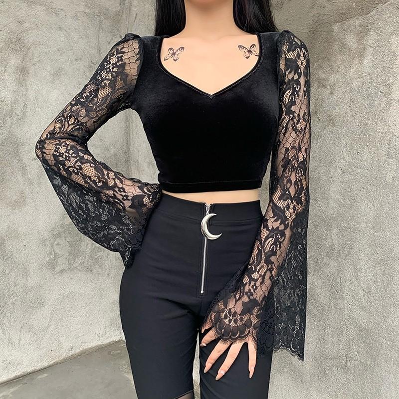 Egirl Gothic Velvet Lace Top 41
