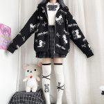 Harajuku Egirl Gothic Hoodies with bear print 2