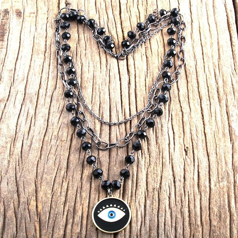 Egirl Eboy Gothic Necklaces Multiple Rosary & Chain Cross Pendant 44