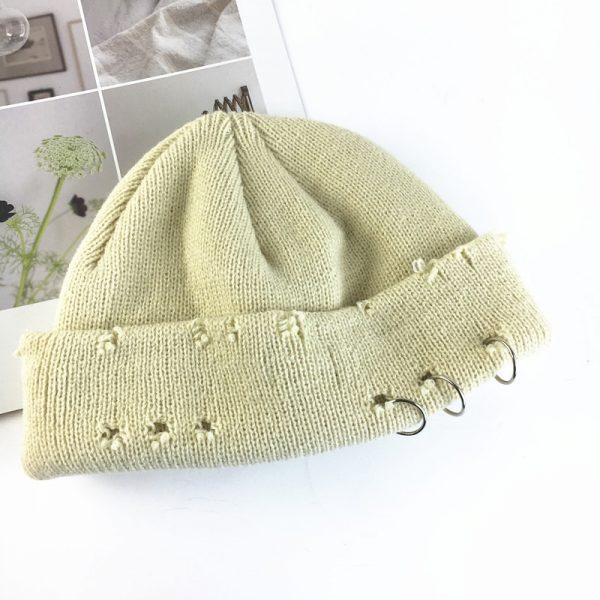 Harajuku Grunge Winter Knitted Hat with Holes, rings and pins  4
