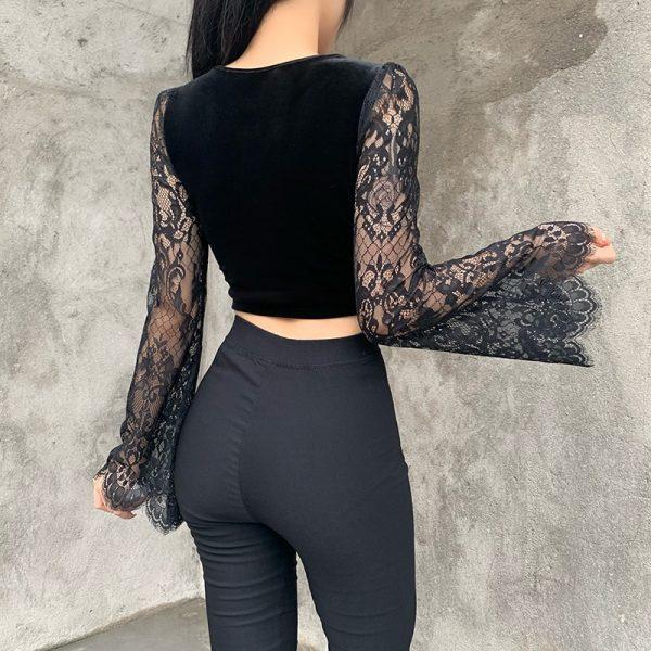 Egirl Gothic Velvet Lace Top 1
