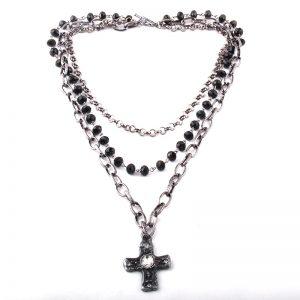 Egirl Eboy Gothic Necklaces Multiple Rosary & Chain Cross Pendant 1