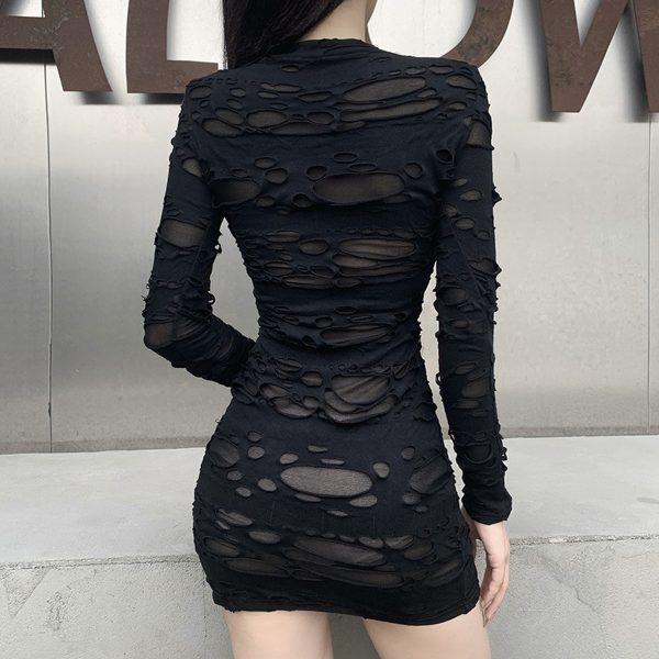 Egirl Gothiс Punk Mini Dress with holes 4