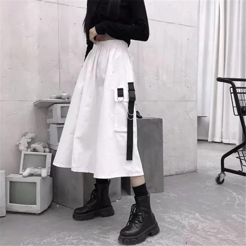 Harajuku Punk High Waist Loose A-line Cargo Skirts with chain 56
