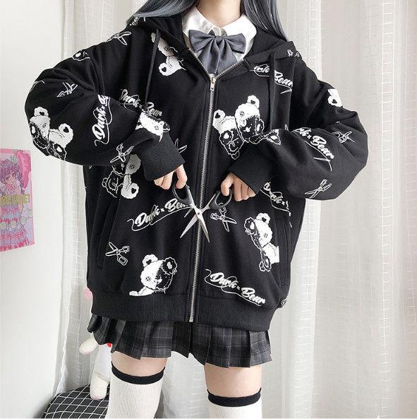 Harajuku Egirl Gothic Hoodies with bear print 47