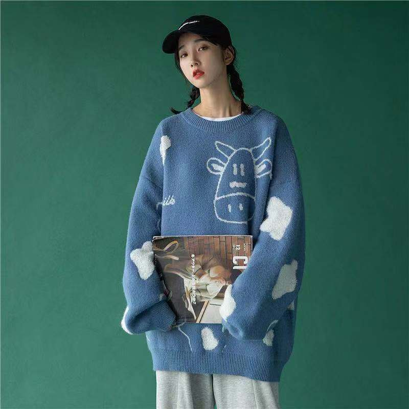 Egirl Harajuku pullover with a cow print 53