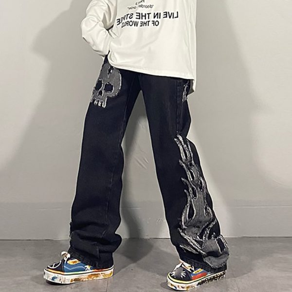 Egirl Harajuku Goth Jeans with skull and flame decor 2