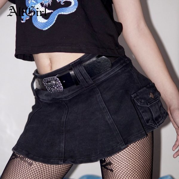 Harajuku Y2k Denim Mini Skirt with pockets 1