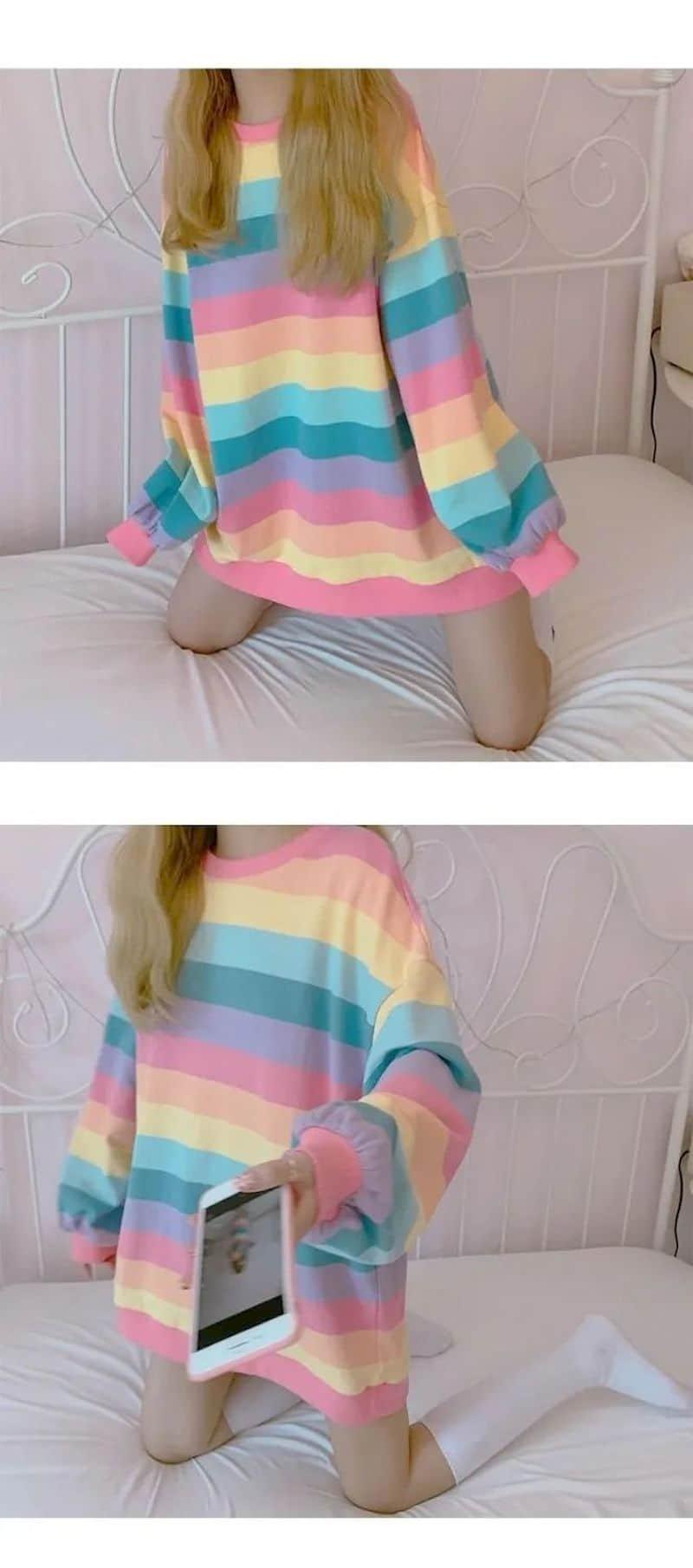 Soft Girl Harajuku Rainbow Striped T-shirt 44