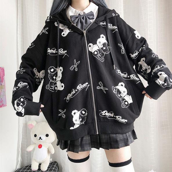 Harajuku Egirl Gothic Hoodies with bear print 43