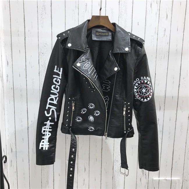 Punk Gothic Egirl Faux Soft Leather Jacket 49