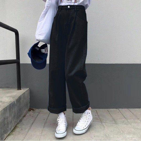 Egirl Y2K High Waist Wide Leg Jeans 4
