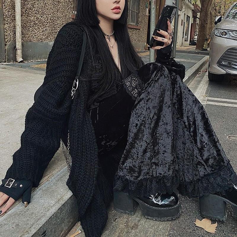 Egirl Gothic Aesthetic Flared Velvet Pants with Lace 44