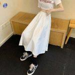 Harajuku Long Skirts A-line with elastic band 4