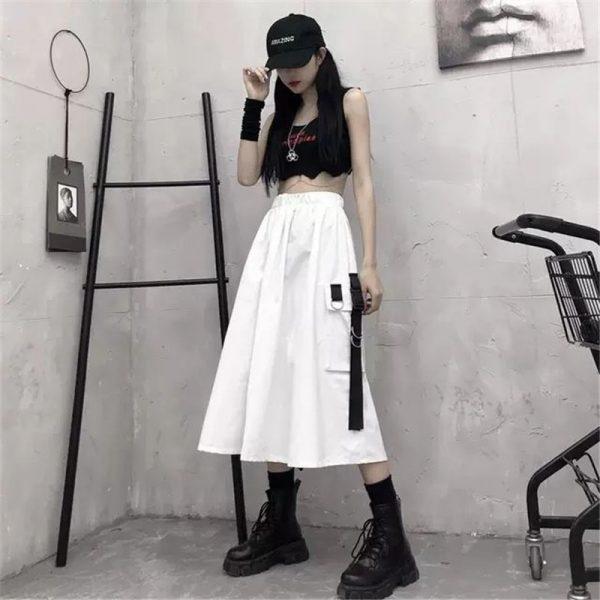 Harajuku Punk High Waist Loose A-line Cargo Skirts with chain 2