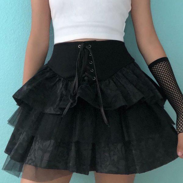Egirl Gothic Lace Up Mini Skirt 3